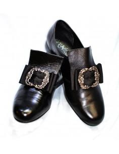 Zapato Felipe II piel sintética negra